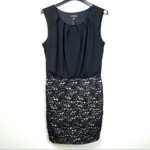 Enfocus Women 14W black lace/nude dress
